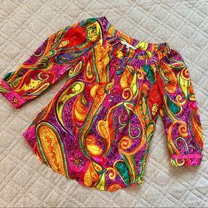 🆕🦋 Trina Turk 100% Silk Paisley Blouse
